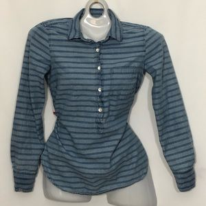 J. CREW collared button down blouse blue striped